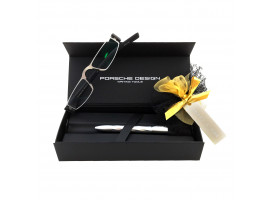 Luxe Giftset Leesbril Porsche Design P'8801a titanium/zwart met pen