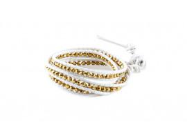 Armband van echt leer en zilver met gouden kralen